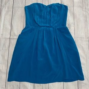 Rebecca Taylor Blue Strapless Silk Dress As Is